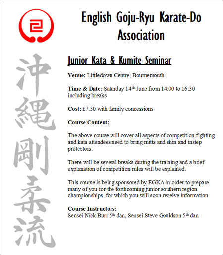 EGKA Junior Kata and Kumite Seminar